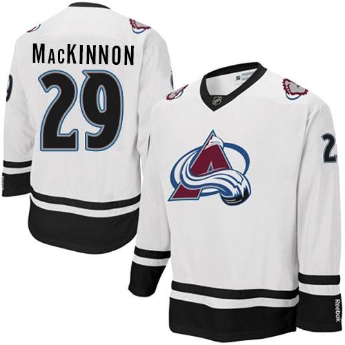 8b4c42bb887 Mens Reebok Colorado Avalanche 29 Nathan MacKinnon Premier White Fashion  NHL Jersey